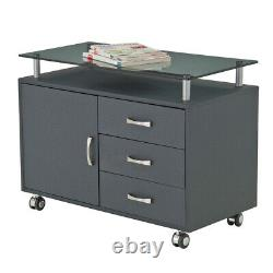 RTA products LLC Techni Mobili Rolling Storage Cabinet With Frosted Glass Top