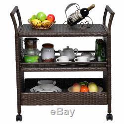 Rattan Rolling Serving Cart Storage Shelves Rack Indoor/ Outdoor Furniture