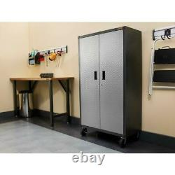Ready To Assemble Steel Rolling Garage Cabinet Storage with Built in Lock Silver