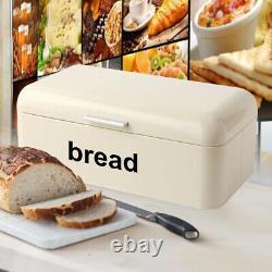 Rectangular Retro Steel Powder Coated Bread Bin Kitchen Loaf Food Rolls Storage