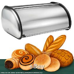 Roll Top Bread Bin Silver Stainless Steel Food Box Loaf Store Kitchen Container