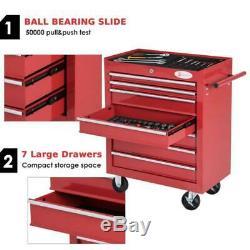 Roller Cabinet Chest Garage Workshop Tool Storage Box 7 Drawers Roll Wheels Red