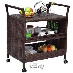 Rolling Bar Party Rattan Serving Cart Rack Storage Shelves Swivel Wheels Handle