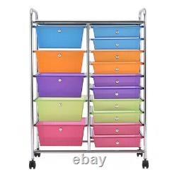 Rolling Cart With 15-Drawers Organizer Utility Storage Tools Scrapbook Paper NEW