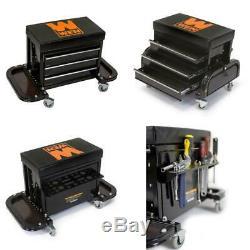 Rolling Creeper Seat Mechanics Stool Garage Shop Car Work Tool Box Chest Storage