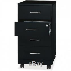 Rolling Filing Cabinet Steel 4 Drawer Mobile Home Office Storage Organizer Black