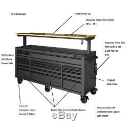 Rolling Garage Storage Tool Chest Work Bench Cabinet Adjustable Wood Top 72 in