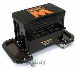 Rolling Garage Tool Box Padded Mechanics Seat 3 Storage Drawers Durable Frame