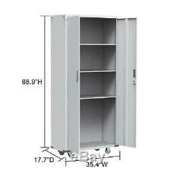 Rolling Garage Tool Box Storage Cabinet 4 shelves(3 height adjustable shelves)
