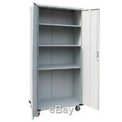Rolling Garage Workshop Tool Box File Storage Cabinet 4Shelve Steel Organizer 6