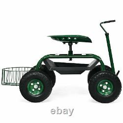 Rolling Garden Cart Scooter with Adjustable Seat Storage Basket Tray Green