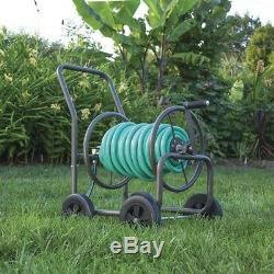 Rolling Hose Reel Cart Steel Frame Garden Storage Rack on Wheels