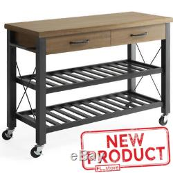 Rolling Kitchen Cart Island Table Storage 2 Drawer Stand Wine Rack Metal Shelves