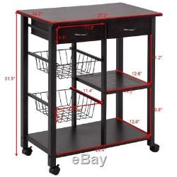 Rolling Kitchen Cart Trolley Island Wood Storage Shelf Drawers Wire Basket Steel