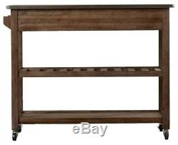 Rolling Kitchen Cart solid wood, stainless steel top, with storage
