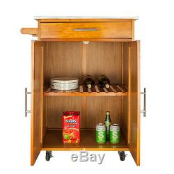 Rolling Kitchen Island Trolley Cart Stainless Steel Tabletop Storage Cabinet