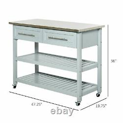 Rolling Kitchen Island Trolley Cart Stainless Top Open Storage Shelves Drawer