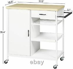 Rolling Kitchen Island Trolley Cart white Storage Cart Microwave Oven Rack Stand