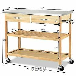 Rolling Kitchen Trolley Cart Stainless Steel Countertop with Storage Drawer&Shelf