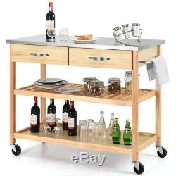 Rolling Kitchen Trolley Cart Wood Island with Storage Drawer&Shelf