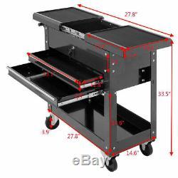 Rolling Mechanics Tool Cart Slide Top Utility Storage Cabinet Organizer 2 Drawer