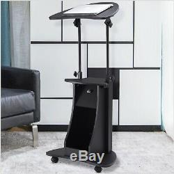 Rolling Sit-to-Stand Computer Adjustable Desk Height Laptop Cart Storage Cabinet