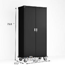 Rolling Steel Storage Cabinet Adjustable Shelves Garage Kitchen Office Warranty
