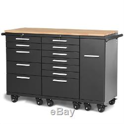 Rolling Steel Tool Chest Cart 12-Drawers Garage Storage Cabinet Wooden Workbench