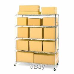 Rolling Storage 5 Tier Steel Wire Shelf Workshop Garage Organizer Rack Chrome