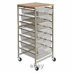 Rolling Storage 7 Drawers Laundry Closet Dresser Organizer Utility Metal Steel
