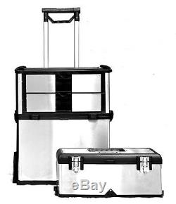 Rolling Tool Box 3 in 1 Portable Steel Chest Travel Suitcase Storage Wheels NEW