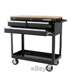 Rolling Tool Cart 3 Drawer Storage Gloss Black Hardwood Top Heavy Duty Durable