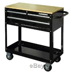 Rolling Tool Cart Black Wood Top 3 Drawer Shelf Workbench 36 Storage Organizer