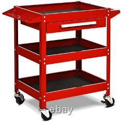 Rolling Tool Cart Home Garage Trolley 3 Tray With Drawer Storage Organizer Wheels
