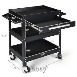 Rolling Tool Cart Mechanic Cabinet Storage ToolBox Organizer with Drawer