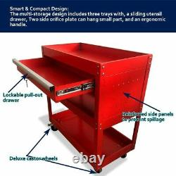 Rolling Tool Cart Mechanic Cabinet Storage Toolbox Organizer With 3 Drawer
