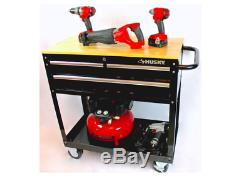 Rolling Tool Cart Solid Wood Top Work Surface Storage 36 in. 3-Drawer Black New