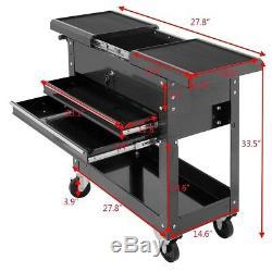 Rolling Tool Cart Utility Storage Auto Mechanics Cabinet Organizer 2 Drawer