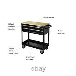 Rolling Tool Cart Wood Top Cabinet Storage Box Garage Toolbox Organizer 3-Drawer