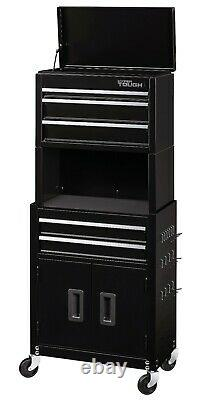 Rolling Tool Chest 20-In 5-Drawer Cabinet Combo with Riser Box Storage Workshop