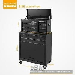 Rolling Tool Chest 24-inch 5 Drawer Organizer Combo Top Bottom Chest Workshop