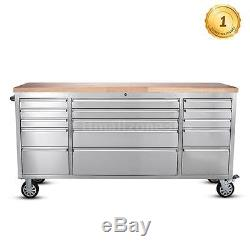 Rolling Tool Chest Cabinet 72Tool Storage Box Work Station Bench 15 Drawer S0W6