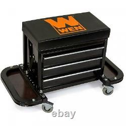 Rolling Tool Chest Seat Mechanic Stool 3 Drawers Tool Cabinet Tool Box Storage