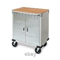 Rolling Tool Chest Stainless Steel 2 Door Metal Storage Cabinet Wood Top