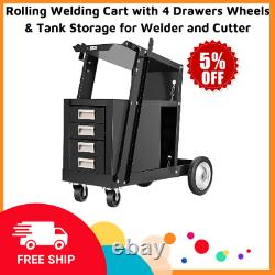 Rolling Welding Cart with 4 Drawers Wheels & Tank Storage for Welder and Cutter