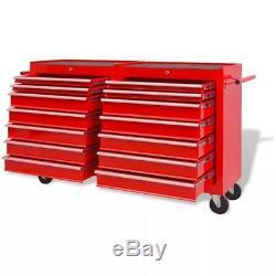 Rolling Workshop Tool Trolley 14 Drawers Size XXL Garage Storage Box Steel Red