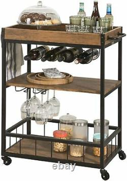 Rustic Liquor Serving Bar Rolling Table Cart Wine Home Pub Large Storage Trolley