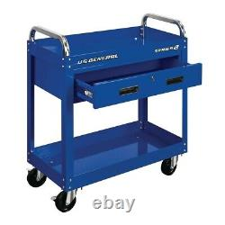 Service Mobile Tool Cart 30 In. With Locking Storage Drawer Steel Rolling Blue