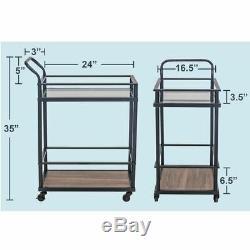 Serving Cart Black 2 Shelf Stainless Steel Rolling Storage Dining Bar Drink Rack