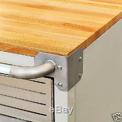 Seville 2-Door Rolling Storage Cabinet Tool Box Cart Workbench 5 Casters Shelf